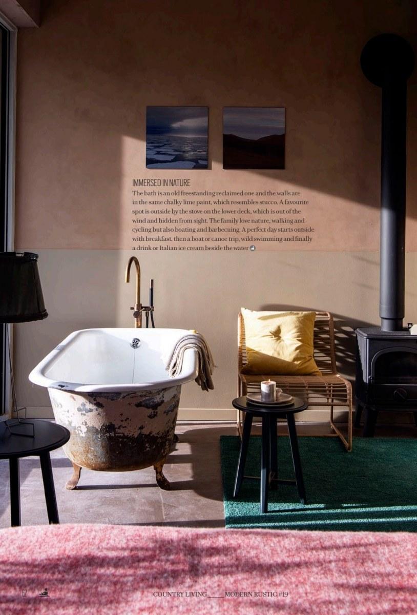 lambrisering  met afneembare krijtverf bij het bad,  Artistan Tan pure and original