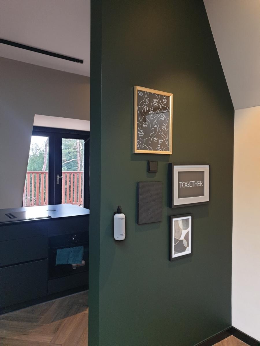afneembare krijtverf, groene muur, dark forest