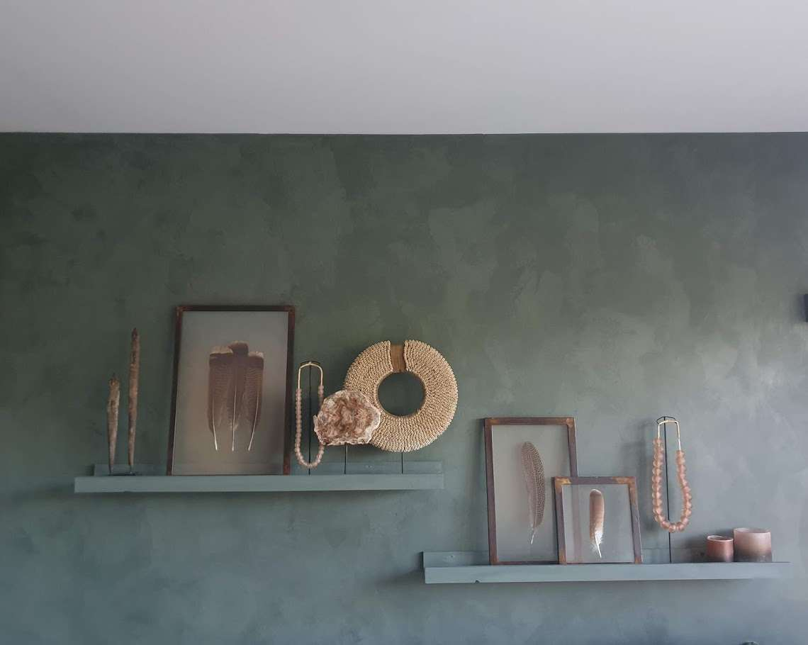 kalkverf gespaand agave, groen, petrol